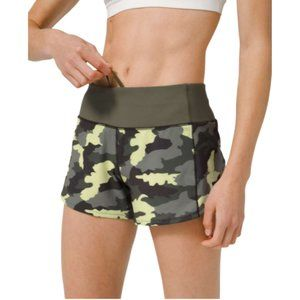 """Lululemon Updated Fit Speed Up Short 4""""   Swift Heritage 365 Camo Crispin Green"""